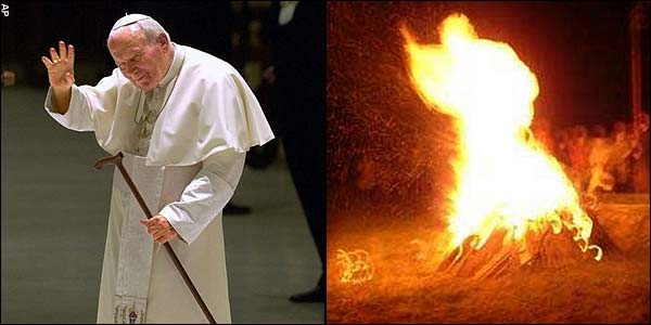 Pope John Paul & bonfire