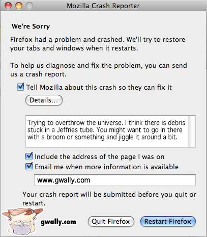 Firefox Prank: Overthrow the universe